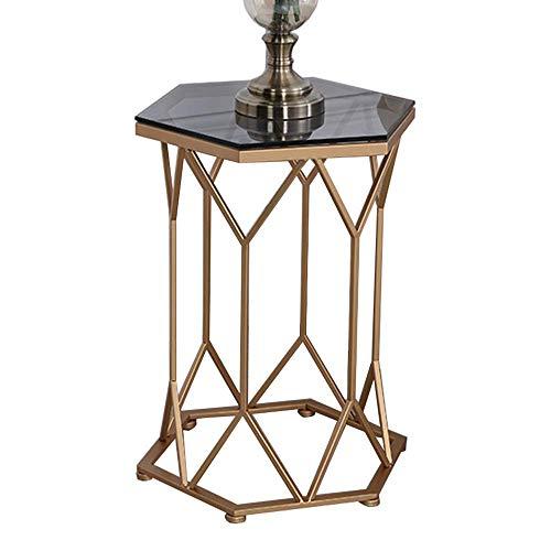 Carl Artbay Home&Selected Furniture/Beistelltisch Geometrische Form Ausgeglichenes Glas-Couchtisch Snack Telefon Tisch Tabelle Ecktisch Nachttisch, 15.7''x23.6 ''
