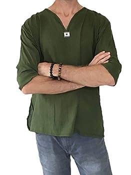 Love Quality Men s Green T-Shirt 100% Cotton Thai Hippie Shirt V-Neck Beach Yoga Top  Large Green