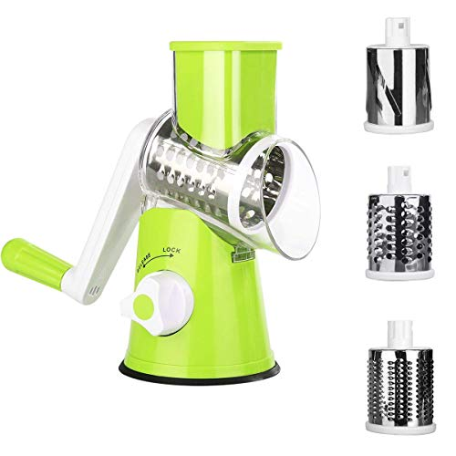 Manual Vegetable Slicer, Uong Drum Rotary Grater Vegetable Spiralizer Triple Cheese Shredder Nut Chopper Fruit Cutter for Vegetable Cheese Fruit Coleslaw with 3 Stainless Steel Rotary Blades (Green)
