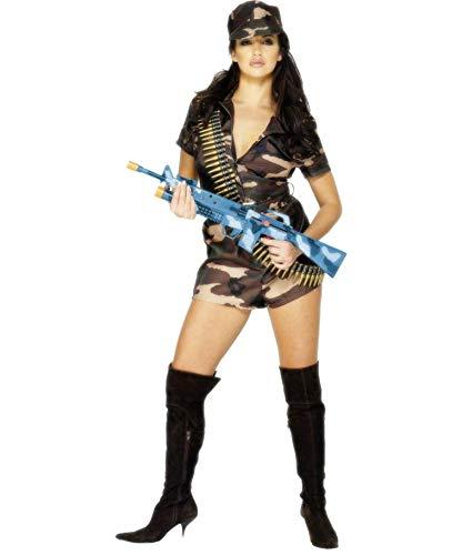 Aufregendes Army Girl Kostüm im Camouflage-Look / Braun-Oliv M (38/40) / Military Girl Verkleidung Bundeswehr Soldatin / EIN Blickfang zu Fasching & Karneval