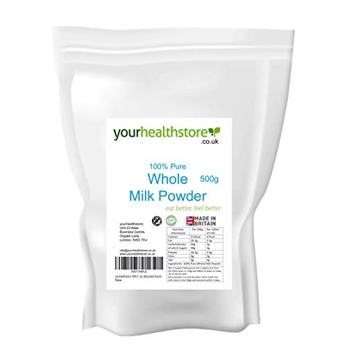 yourhealthstore 100% Pure Whole Milk Powder 500g, Made in Britain with British Milk, No Additives, No Soy Lecithin, Vegetarian, (Recyclable Pouch)