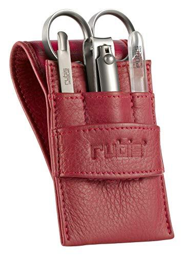 Rubis Kit Manucure en cuir rouge - 4 ustensiles élégants- coupe ongles, ciseaux a cuticules, poussoir cuticle et lime en verre