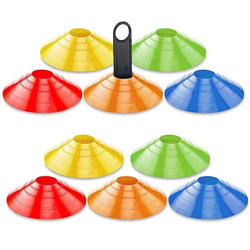 mengger Markierungshütchen, Fussball Hütchen Agilität Markierungsteller Set inklusive Markierungskegel Mit Ständer für Sport Basketball Handball 10'er (Rot Grün gelb orange blau) Markierungshütchen