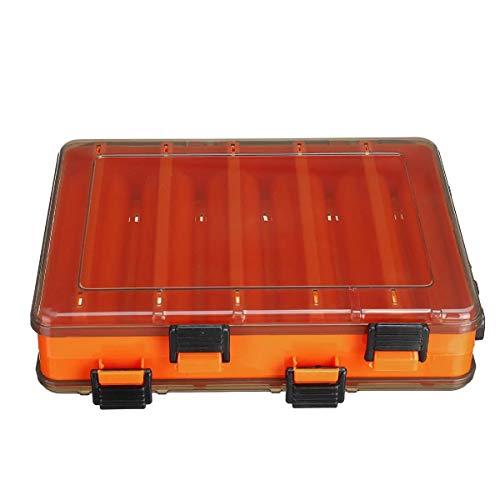 N\A Fisch-Köder-Box Double Sided Kunststoff Fischköder-Fall-Gerät-Aufbewahrungsbehälter 10/14 Gitter Fischen-Werkzeug (Farbe : Orange, Size : S)