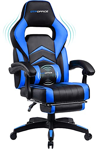 Gaming Chair with Footrest and Massage,Computer Chair Lumbar Support Ergonomic Gaming Chair, Gaming Chair 360°-Swivel for Office or Gaming Blue