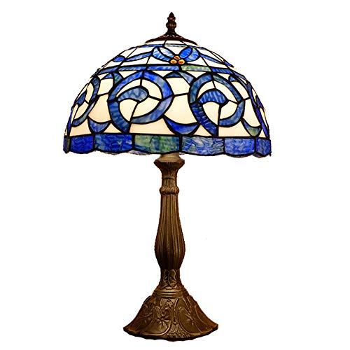 VOMI Lámpara de mesa de 30 cm con diseño de rosa Tiffany, de cristal colorido, para dormitorio, para salón, estudio, E27, retro, antiguo, para escritorio