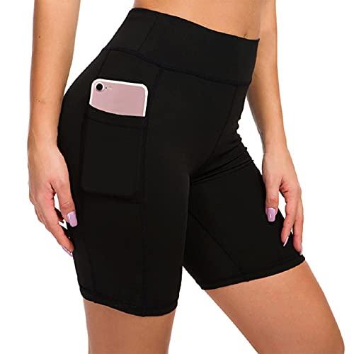 Voqeen Pantaloncini Sportivi Donna con 2 Tasche Laterali Shorts Corsa Allenamento Calzamaglia Fitness Pantaloni da Yoga Vita Alta Leggins Corti-Nero-S