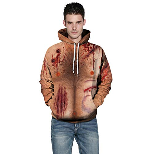 For Sale! Cosplay Hoodies, Leegor Unisex Realistic Scary Wound Pullover Couple Drawstring Sweatshirt...