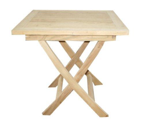 LINDER EXCLUSIV Echt Teak Tisch Gartentisch Teaktisch Beistelltisch 53 x 53 x 51 cm DF58