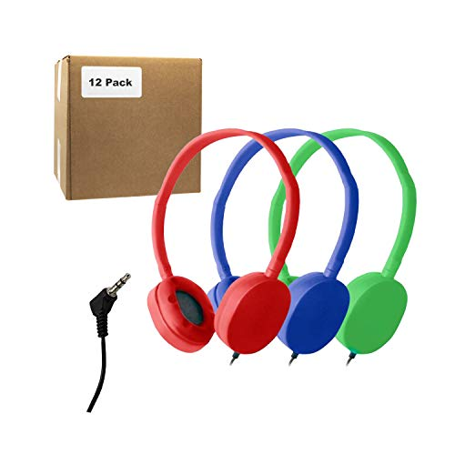 Bulk Headphones for School Library Classroom Airplane Hospital Museum Hotel Tours Gym Students Adjustable Disposable Reusable Comfortable Compact and Easy to Store Headsets (12Pack, BlueRedGreen)