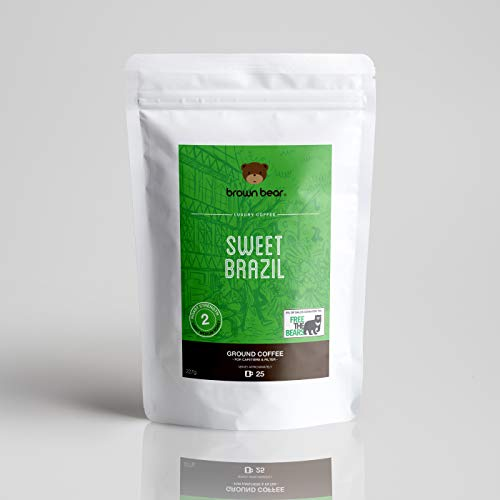 Brown Bear Sweet Brazil Gemahlener Kaffee, Hell Röstung, 227 g Light Medium Roast Ground Coffee, 5 % der Verkäufe werden an die gemeinnützige Einrichtung Free the Bears