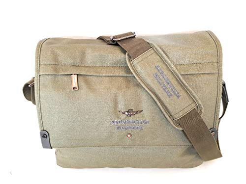 Aeronautica Militare Line Canvas Shoulder Bag PortaPc Khaki AM333 34 x 28 x 11 cm