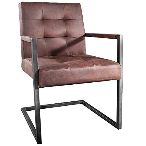 Invicta Interior Industrial Freischwinger Stuhl Rider Vintage braun Eisengestell mit Armlehne Freischwingerstuhl Esszimmerstuhl Bürostuhl Besucherstuhl