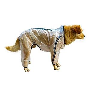 Olsa Dog Raincoat, Dog Hooded Slicker Poncho, 4 Legs Dog Rain Jacket with Reflective Stripe, Transparent Water Proof Resistant Dog Rain Snow Clothes for Small Medium Large Dogs