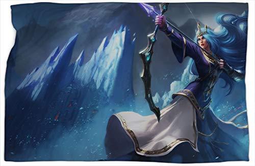 Ashe Queen League Legends - Manta de felpa con estampado de leyendas, súper suave, cálida y cómoda, mantas y mantas de 152,4 x 203,2 cm