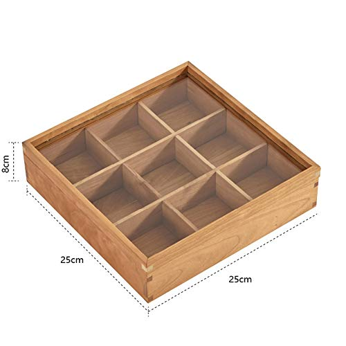 Check Out This Tea Box Storage Organiser-9 Compartments 100% Natural & Organic Tea Bag Caddy with Tr...