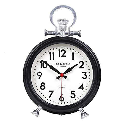 O&YQ Horloge de Table de Comptoir Mute Salon Chambre Chevet Rétro Métal + Horloge de Table en Verre Il S'Applique Aux Familles Aux Bureaux Etc.