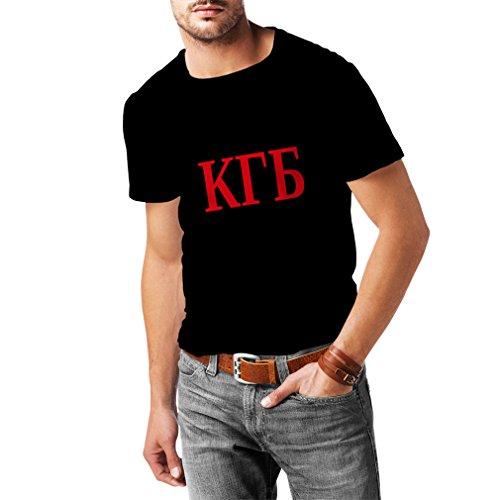lepni.me N4112 T-Shirt pour Hommes KGB ??? T-Shirt CCCP Russland Manches Longues à Capuche Moskau Hommes (Small Noir Rouge)