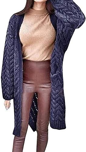 Mujeres Casual de punto grueso cable invierno caliente frente abierto manga larga suéter cárdigans