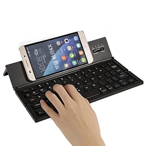 HYZHYZ Bluetooth Teclado Plegable, Mini Teclado Ultra Delgado USB Tableta de teléfono móvil Tableta inalámbrico Tres Sistemas 85 (Clave) para Windows, iOS, Dispositivo Android,Negro