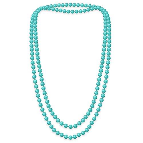 SoulCats Eine süße Kette Perlenkette Perlen viele Farben XXl lang pink blau creme, Farbe:aqua;Kettenlänge:148 cm
