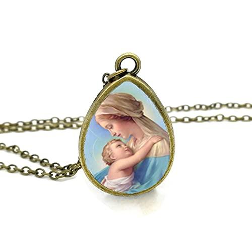 Revilium Collar De La Santísima Virgen María, Colgante De Lágrima De La Madre del Bebé, Joyería del Día De La Madre, Collares De Cristal Cristianos
