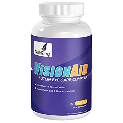 NutriZing's Vision Aid Supplement ~ Special Lutein Complex With Zeaxanthin, Meso-Zeaxanthin, Blueberry Extract & Zinc ~ 60 Capsules ~ Best to Fight AMD and Help Better Eye Sight ~ For Men & Women from NutriZing