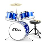 Tiger Junior Kids Drum Kit, 3 Piece Beginners Childrens Drum Set with Snare, Tom, Bass Drum, Bass Drum Pedal,...