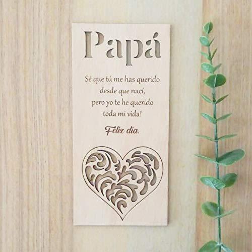 Tarjeta para el día del padre, tarjeta de cumpleaños de Regalo para el papá, tarjeta de felicitación de madera, regalo para el cumpleaños de papá o aniversario