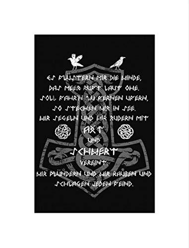 Uglyshirt89 Axt & Schwert Premium Leinwand | Keilrahmen Bild Gemälde Wandbild (Schwarz, 60 x 40)