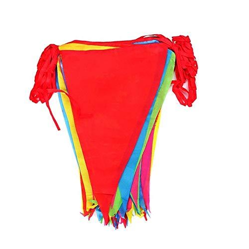 Cojoy 50M Wimpelkette, rotes Seil Nylon Stoff Banner, Multicolor Wimpel mit 100 Stück große Dreieck Flaggen für Indoor, draussen Partei Dekoration