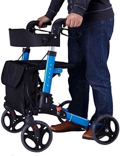 Walker voor ouderen Lichtgewicht Travel Walker, Fold Walkers voor senioren, Ultra Mobility Aid Four Wheel, Drive Medical Rollator Walking Frame Verstelbare Hoogte Gratis Installatie Gecapitonneerde zitting en rug