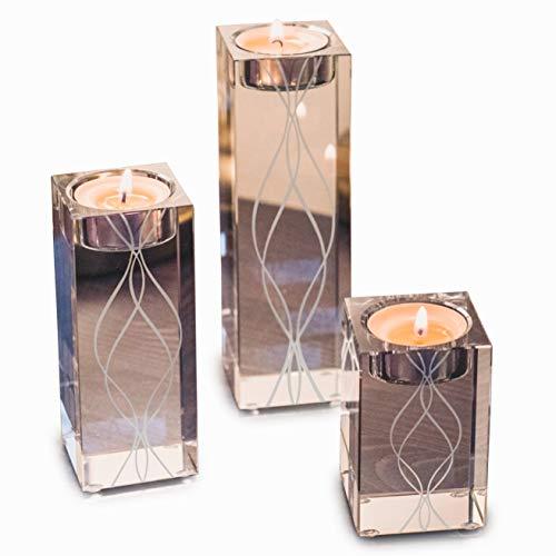 OVLUXE Kerzenhalter, groß, 3 Stück Teelichthalter-Set, quadratisch, mit Gravur, Glas, ideal für Hochzeiten und Heimdekoration