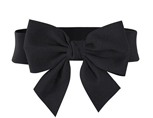 MUXXN Ladies Classy Plus Elastic Wasit Belts for Dress (Black M)