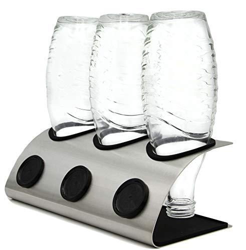 VOLKSHELD ® Premium Soda-Stream Flaschenhalter aus Edelstahl | Abtropfgestell für Crystal Flaschen - Flaschenständer - Abtropfhalter - Abtropfständer für Crystal, Easy, Fuse, Emil