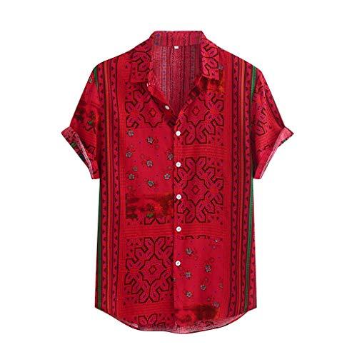 Xniral Herren Hawaii-Hemd Blumen Beiläufig Aloha Freizeit Hemd Button Down Revers Streifen Graphic Shirt Sommer T-Shirt(b-rot,XXL)