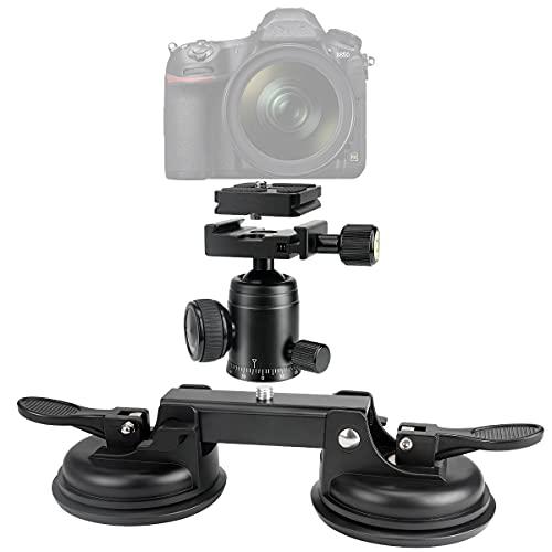 Stark Saugnapfkraft DSLR Systemkamera Saugnapft Halter Saugnapfhalterung Camcorder 360°Panorama mit drehbar Kugelkopf Halterung kompatibel mit Nikon Sony Canon für schnell Geschwindichkeit Aufnahmen