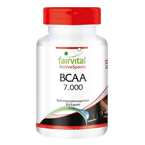 BCAA 7000 - Aminoácidos ramificados - Suplemento VEGANO y sin aditivos - 300 Cápsulas - Valina + Leucina + Isoleucina - Calidad Alemana