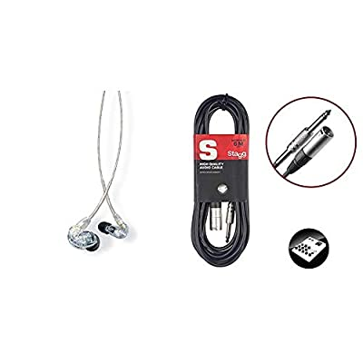 Shure SE215-CL Professional Over the Ear Earphones, Sound Isolating with Single Dynamic MicroDriver, 3.5mm Cable - Clear,SE215-CL-EFS & Stagg S-Series Deluxe Audio Cable - 6m (20ft) Jack to M XLR from