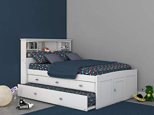 White Full Bookcase Bed with 3 Drawers and Trundle