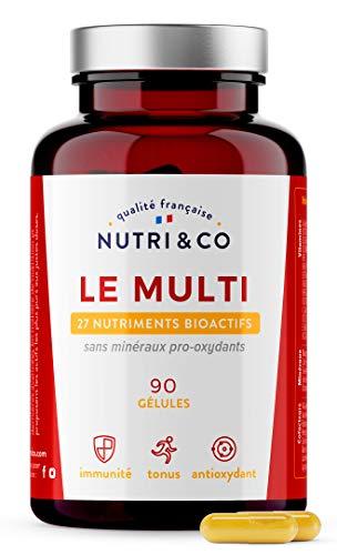 Multivitamines et Minéraux 27 Nutriments • Zinc, Vitamines A B C D3 E K2 Bio-actives & Minéraux Haute Absorption • Complexe Vitalité Homme Femme • 90 Gélules Made in France • Nutri&Co
