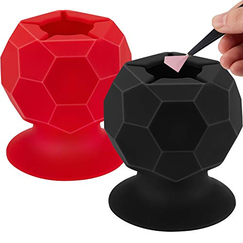 2 Pieces Suctioned Vinyl Weeding Scrap Collector Silicone Suction Cups for Vinyl Disposing HTV Crafting Adhesive Sheets Holder Craft Weeding Tools Holder Set for Vinyls Weeder Red Black