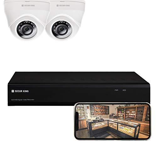 SECURKING - KIT di Sorveglianza, 1 Video Registratore Digitale HD 2MP 4/6 Canali con 2 Telecamere Dome Ottica Fissa con Visione Notturna, Visione Remota da Browser o da Smartphone (Android e iOS)