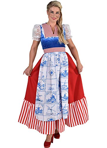 narrenkiste M210136-L Damen Holländerin Kleid lang Holandkostüm Gr.L