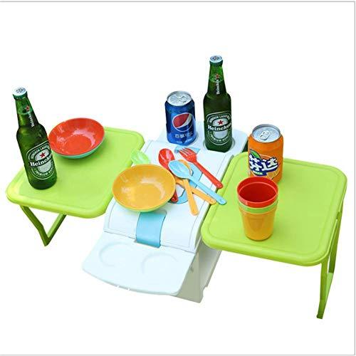 1yess Outdoor Klapptisch, beweglicher Tisch Stuhl mit Auto-Kühlschrank, große Speicher, PP Material, ungiftig und geschmacklos, for Strand Camping 8bayfa