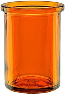 Bluecorn Beeswax 50% Recycled Glass Candle Holder (2¼-Inch Interior Diameter x 3¾-Inch  Tall) - Orange
