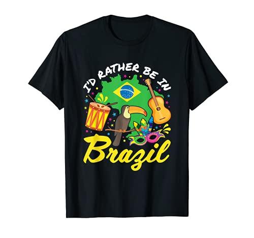 Me gustaría estar en Brasil Brasil Vacaciones Elementos de recuerdo Camiseta