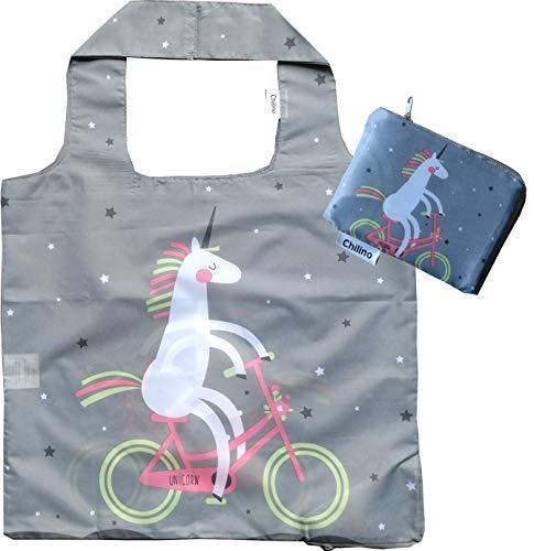 Chilino Faltbare Einkaufstasche, groß und stabil, umweltfreundlich, 100% Polyester, Einhorn, grau, 47 x 41 cm