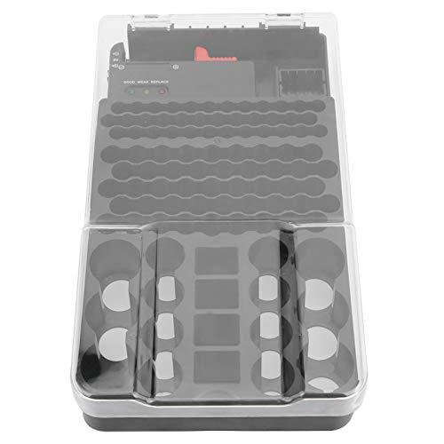 Contenedor de batería organizador, soporte de batería de diseño transparente, 104 rejillas 3 luces para 36 pilas AAA