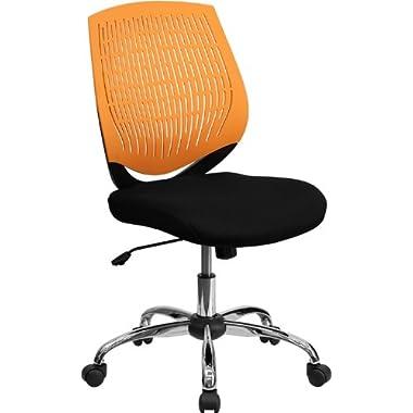 Flash Furniture Mid-Back Orange Designer Back Swivel Task Chair with Chrome Base